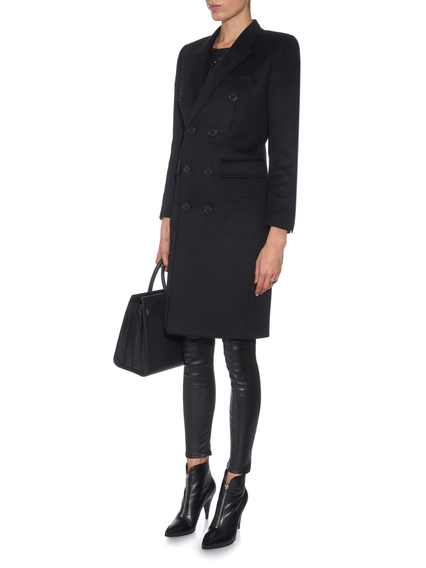 0ed056e5e3a95 Lyst - Saint Laurent Double-breasted Cashmere Coat in Black