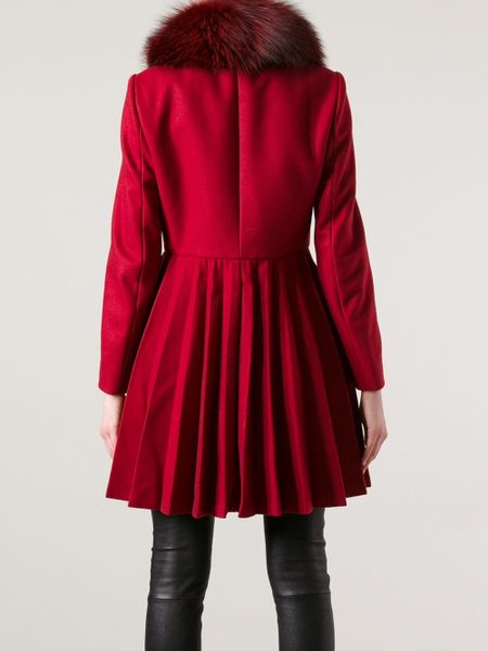 Red Valentino Fox Fur Collar Coat In Red Lyst