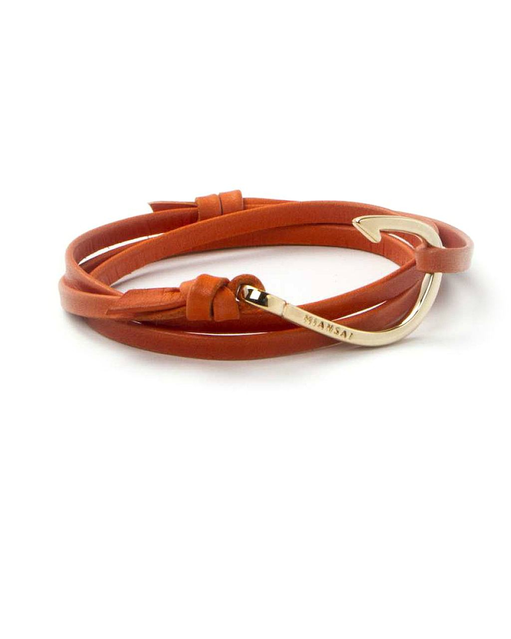Miansai gold fish hook and orange leather wrap bracelet in for Leather fish hook bracelet