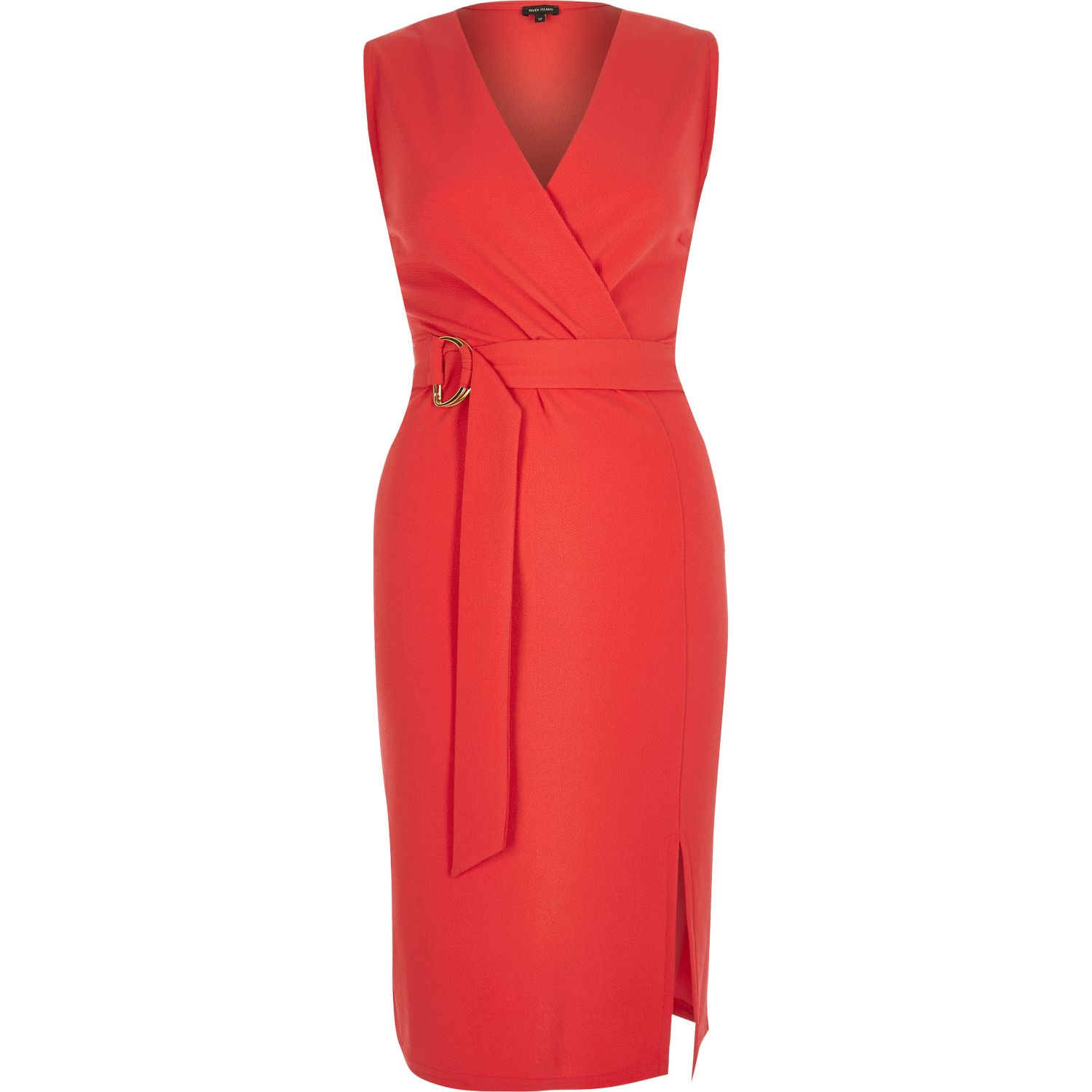 1da96403785 River Island Red D-ring Belted Wrap Dress in Red - Lyst