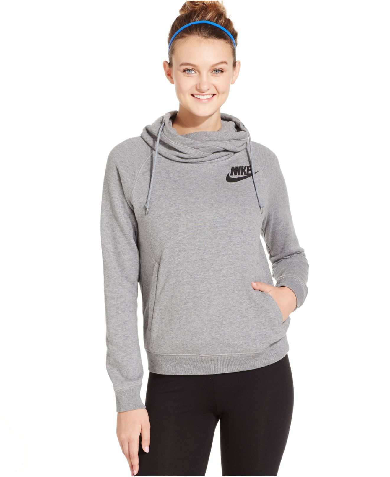 9528b939be35 Lyst - Nike Rally Funnel-neck Pullover Hoodie in Gray