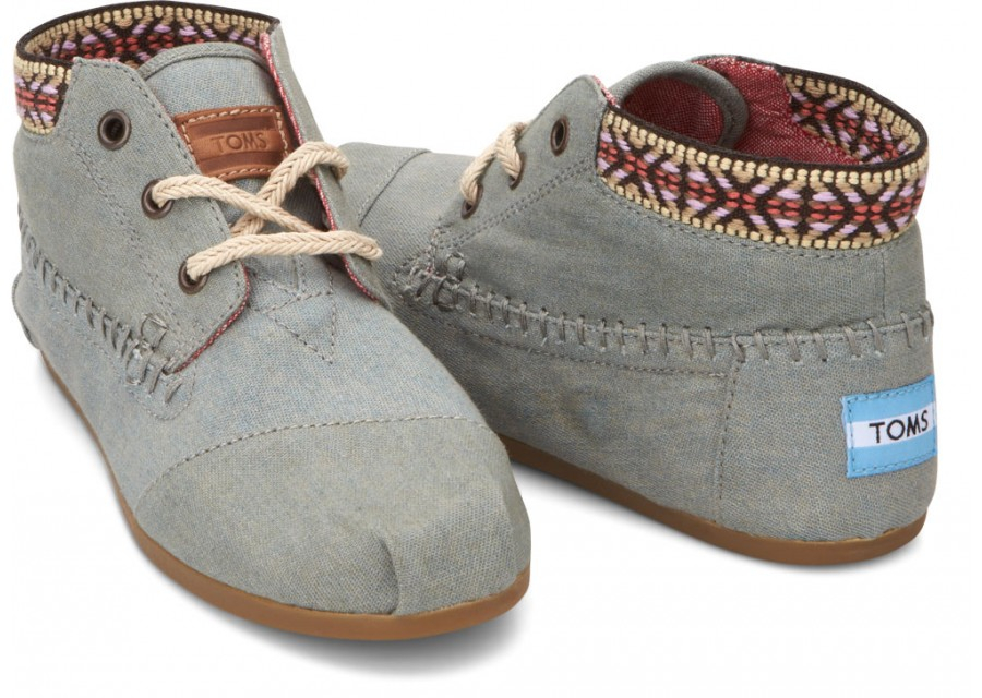 Lyst Toms Chambray Trim Womens Tribal Boots In Blue