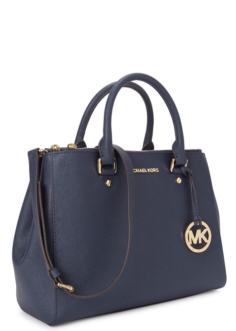 148da0d81ce23b Michael Kors Sutton Medium Navy Leather Tote in Blue - Lyst