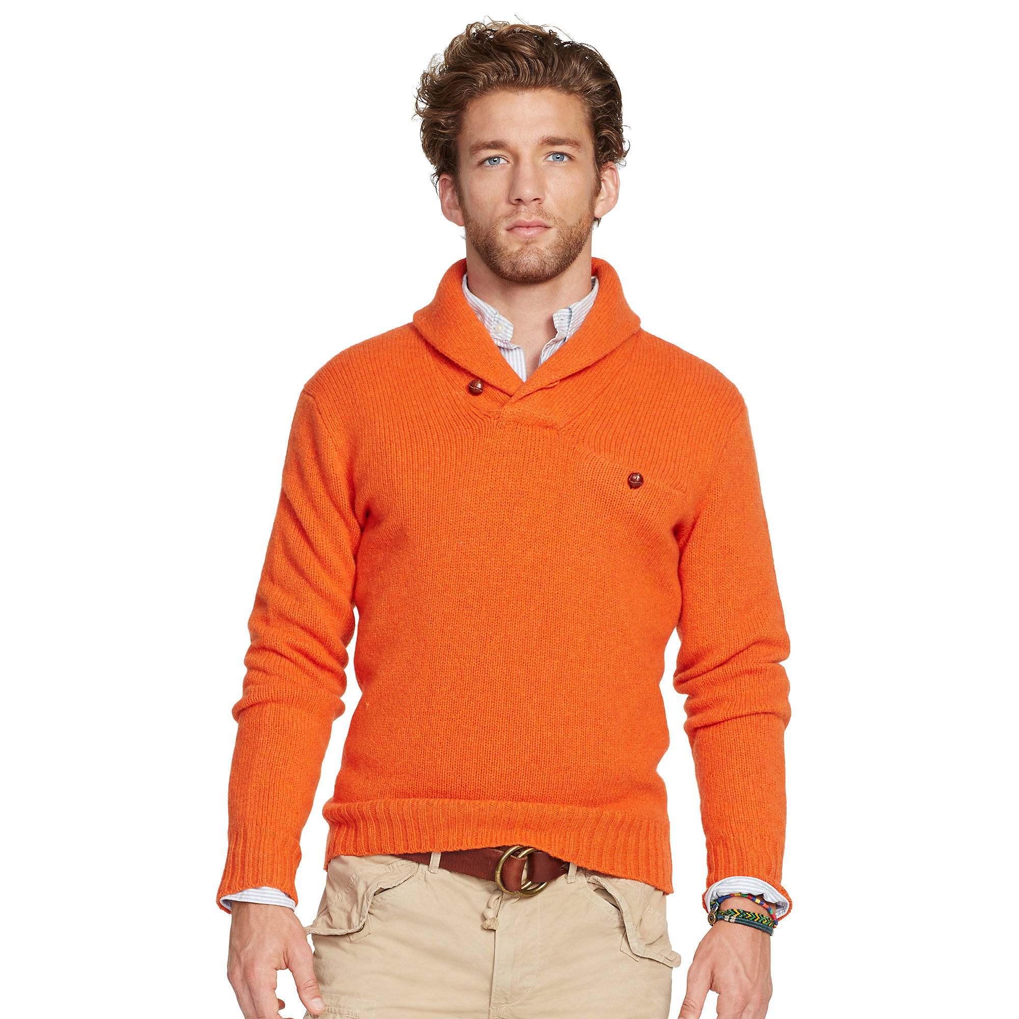 polo ralph lauren shawl pullover sweater in orange for men. Black Bedroom Furniture Sets. Home Design Ideas