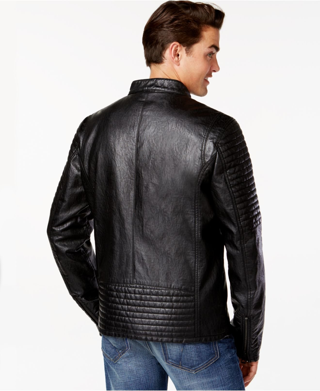Lyst Guess Faux Leather Quilted Moto Jacket In Black For Men