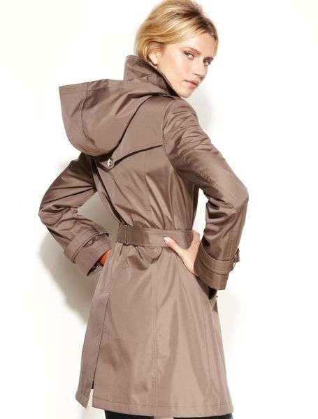 Calvin Klein Hooded Belted Trench Coat In Brown Truffle