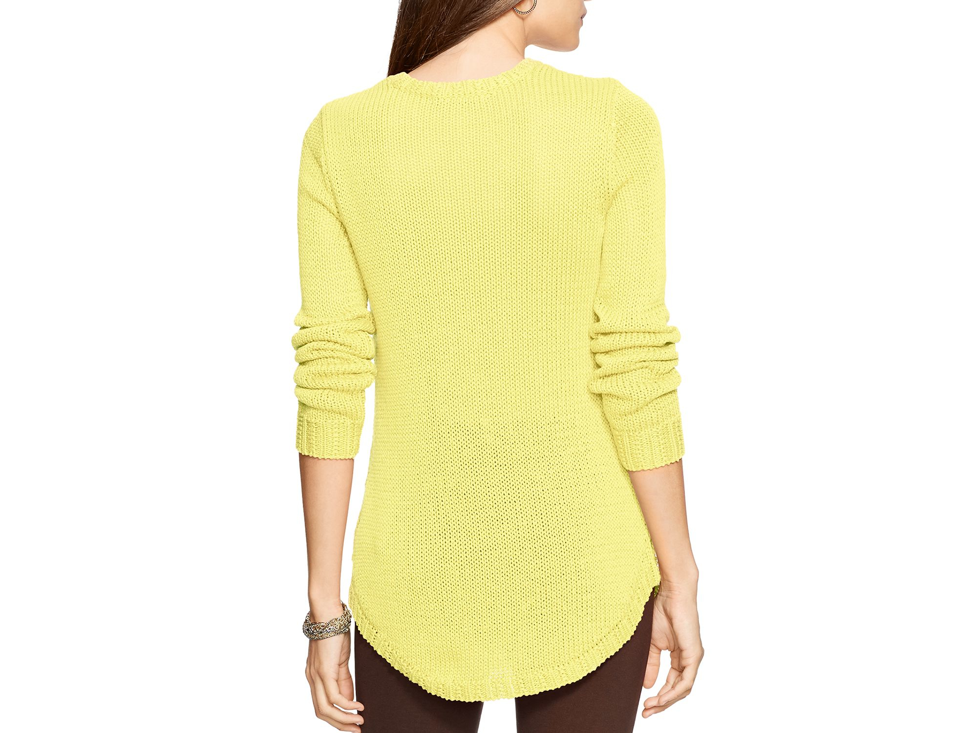 Pink pony Lauren Ribbed Sweater in Yellow | Lyst