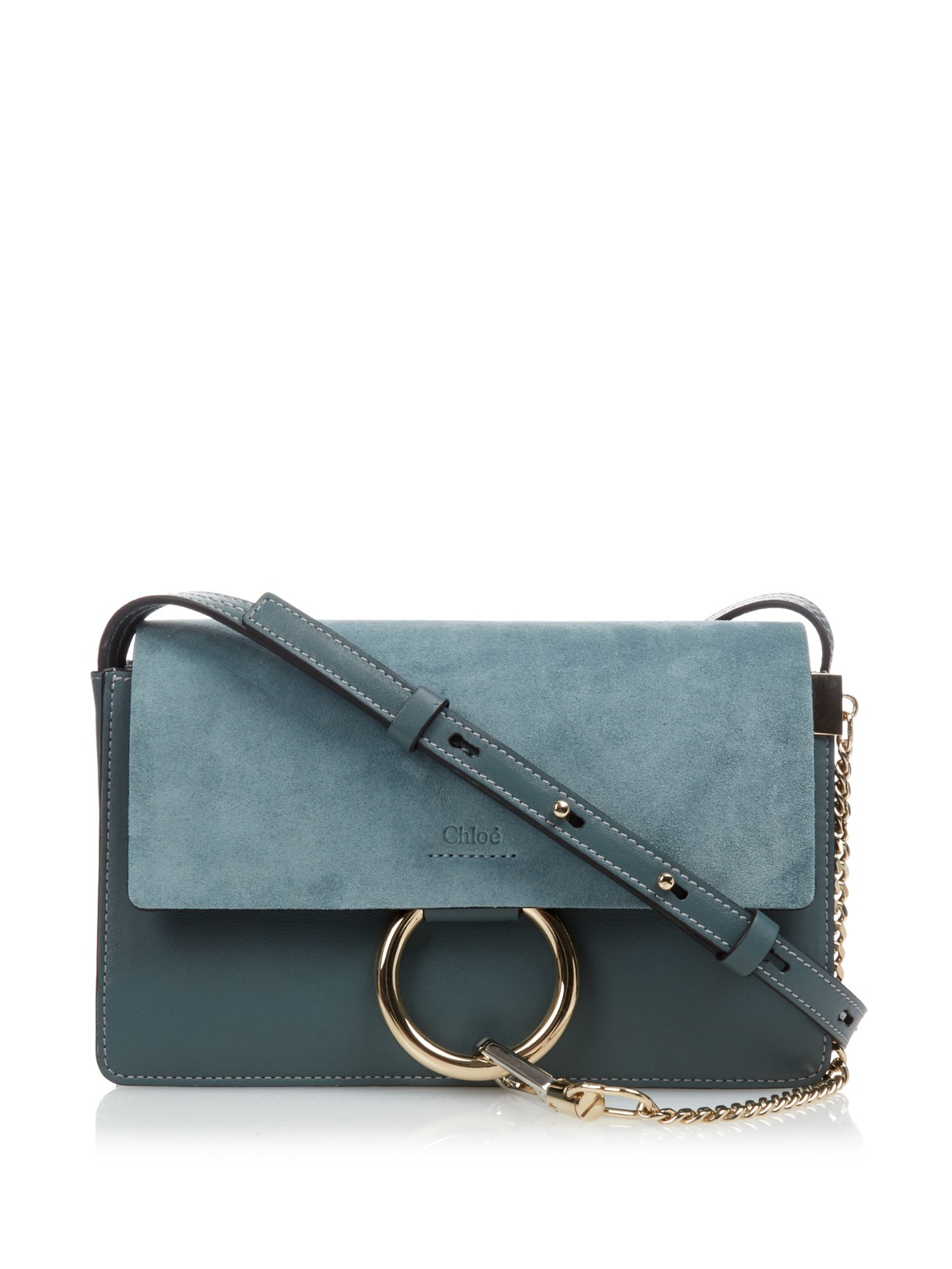 Chlo�� Faye Leather and Suede Cross-Body Bag in Blue | Lyst