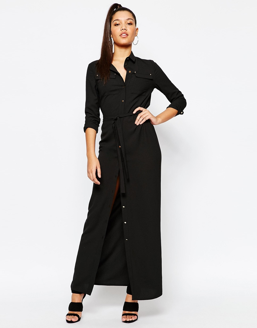 decb8b05be Missguided Belted Maxi Shirt Dress - Black in Black - Lyst