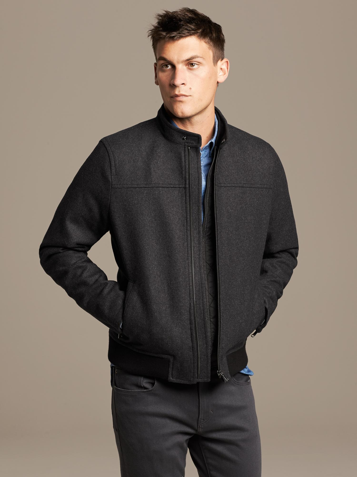 Banana Republic Charcoal Wool Zip Jacket In Gray For Men