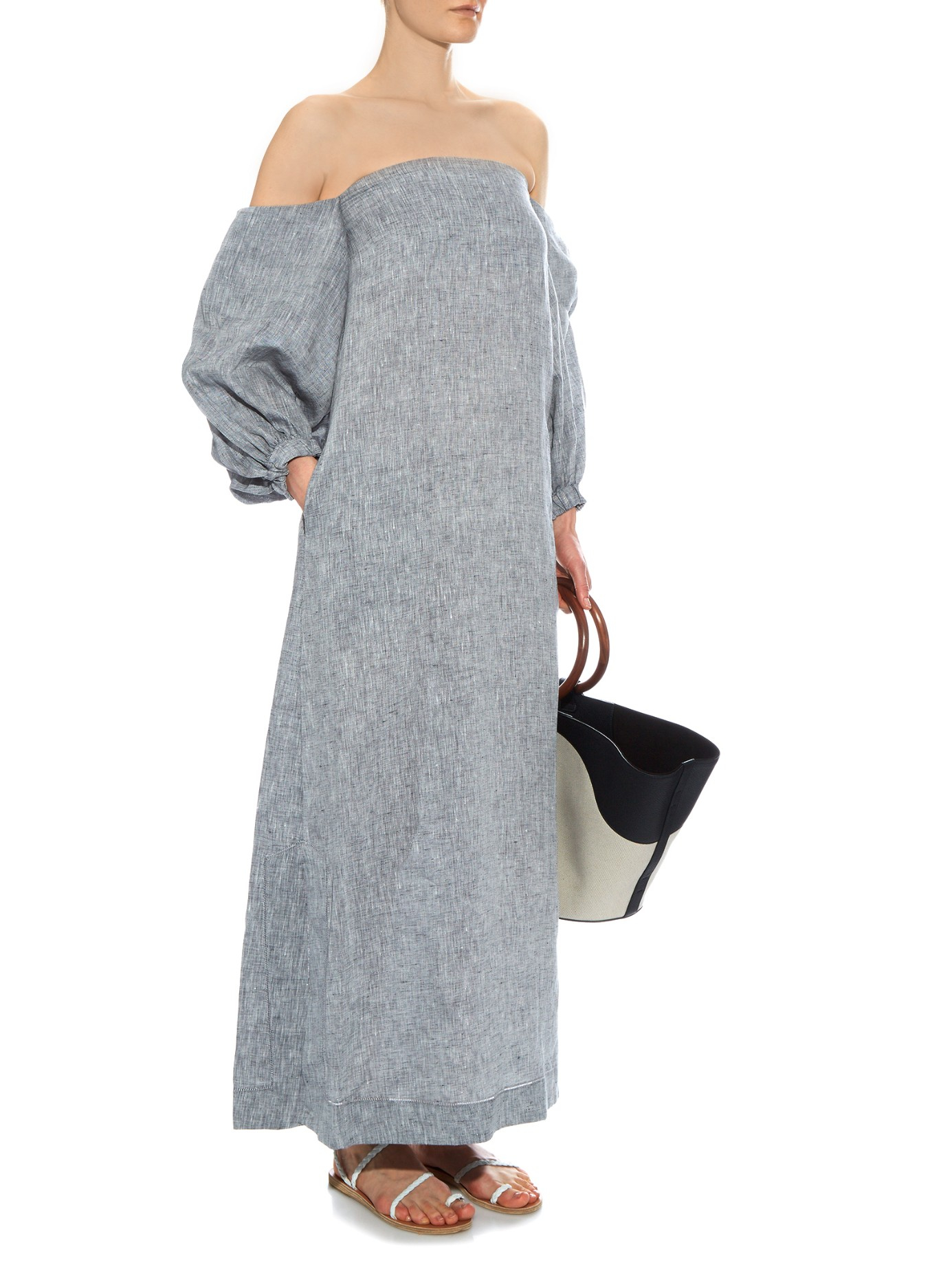 a7d6ba2b7b Lyst - Lisa Marie Fernandez Rosie Off-the-shoulder Linen Dress in Gray