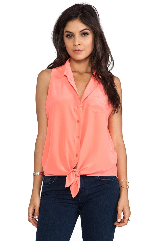 Lyst Equipment Mina Sleeveless Tie Front Blouse In Orange