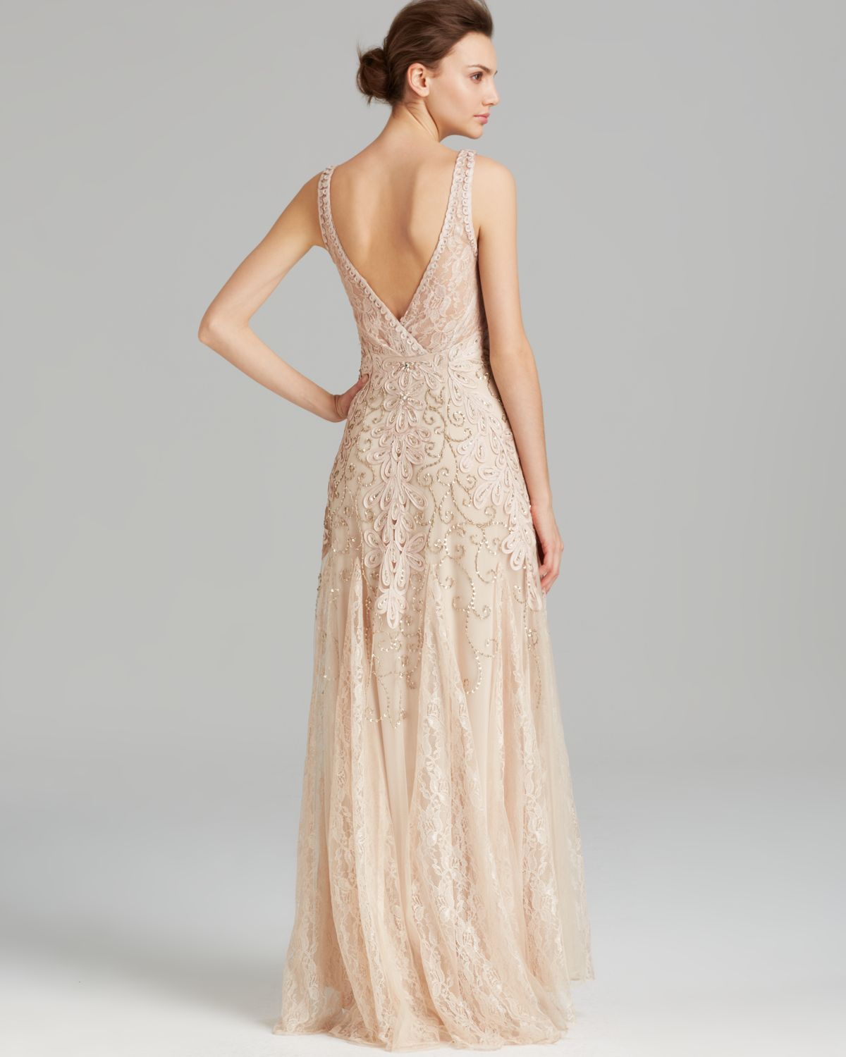 Lyst - Sue Wong Gown - Double V Neck Soutache in Natural