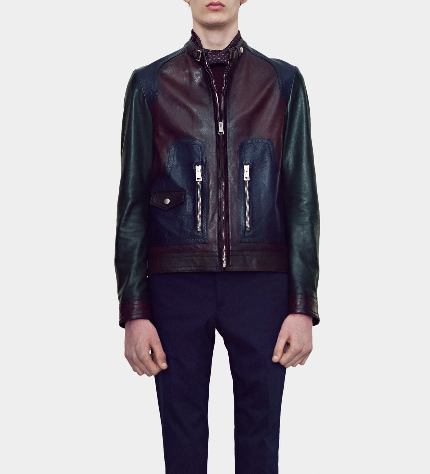 Lyst - Gucci Mixed Leather Biker Jacket for Men