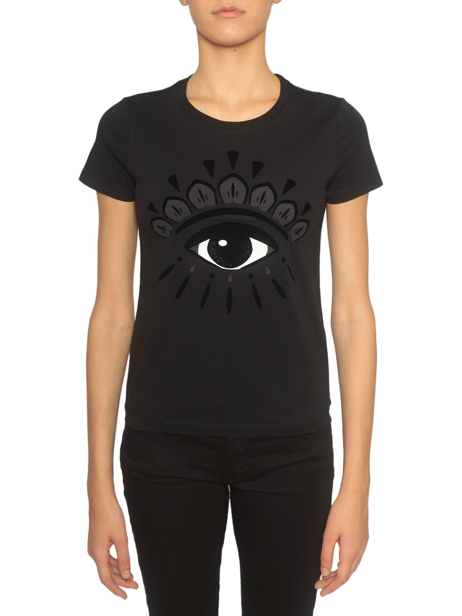kenzo t shirt with eye velvet patch in black nero lyst. Black Bedroom Furniture Sets. Home Design Ideas