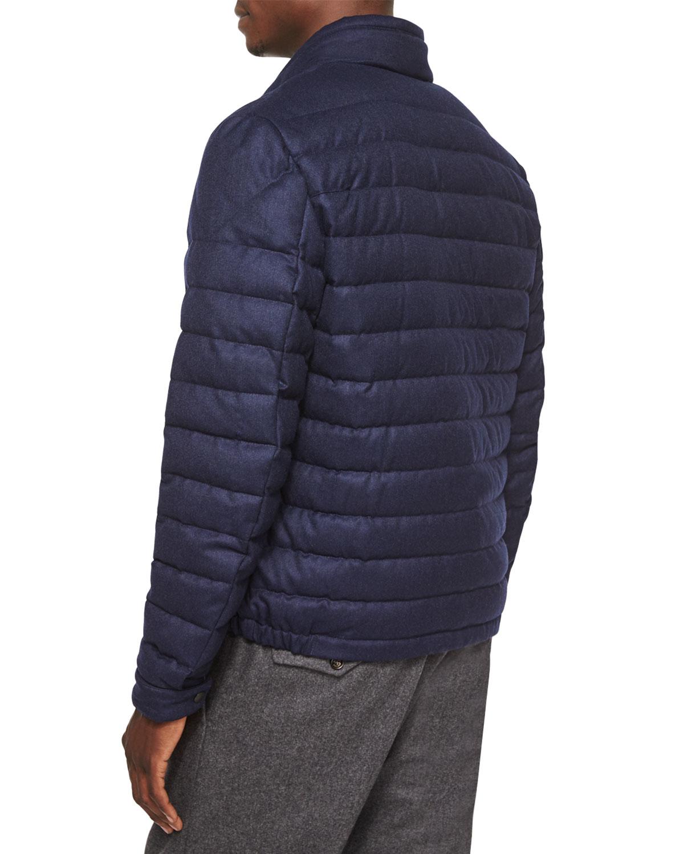 Moncler Delabost Quilted Bomber Jacket In Blue For Men Lyst