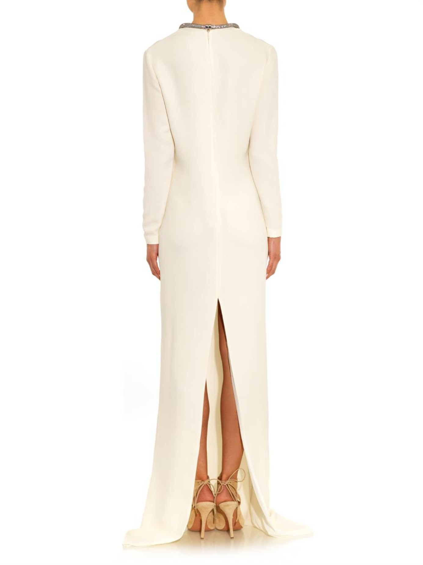 21f671a9d Gucci Crystal-embellished Silk-cady Gown in White - Lyst