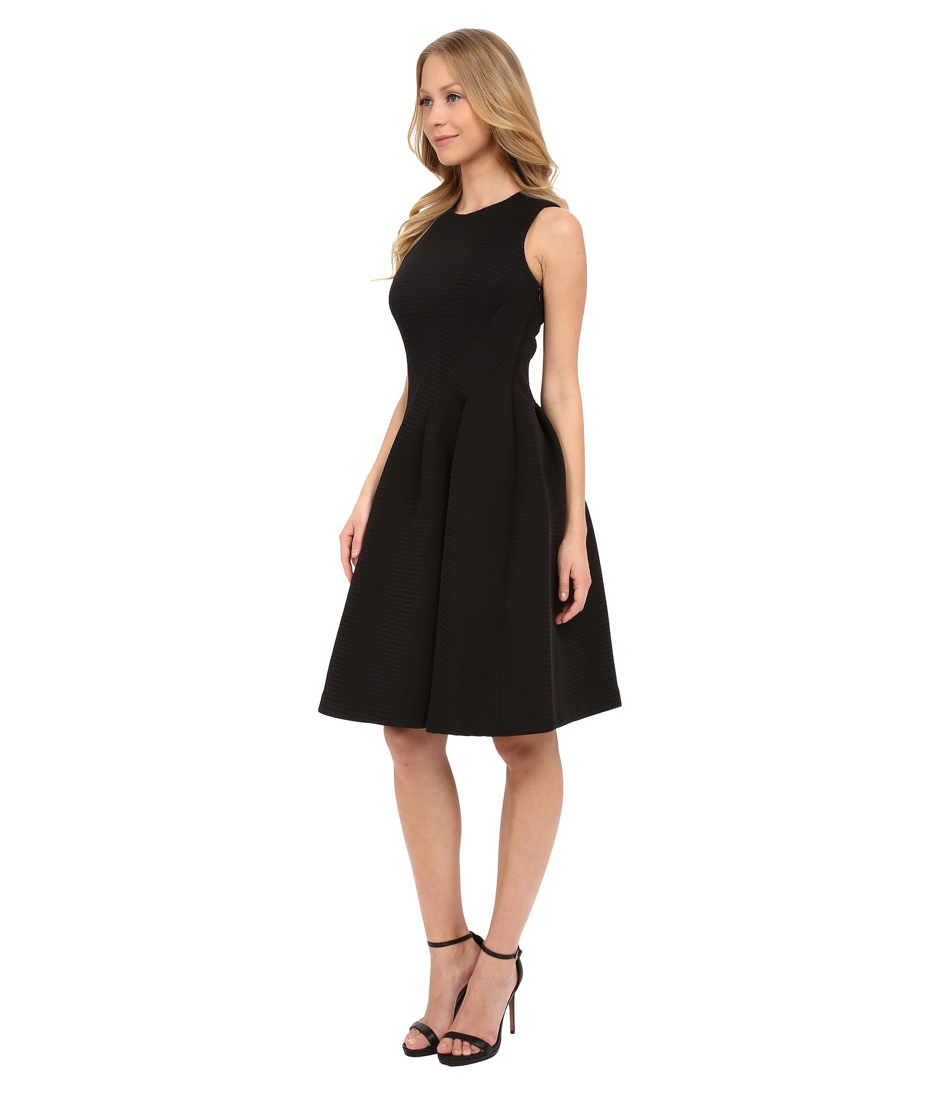 Lyst - Calvin Klein Fit & Flare Dress in Black