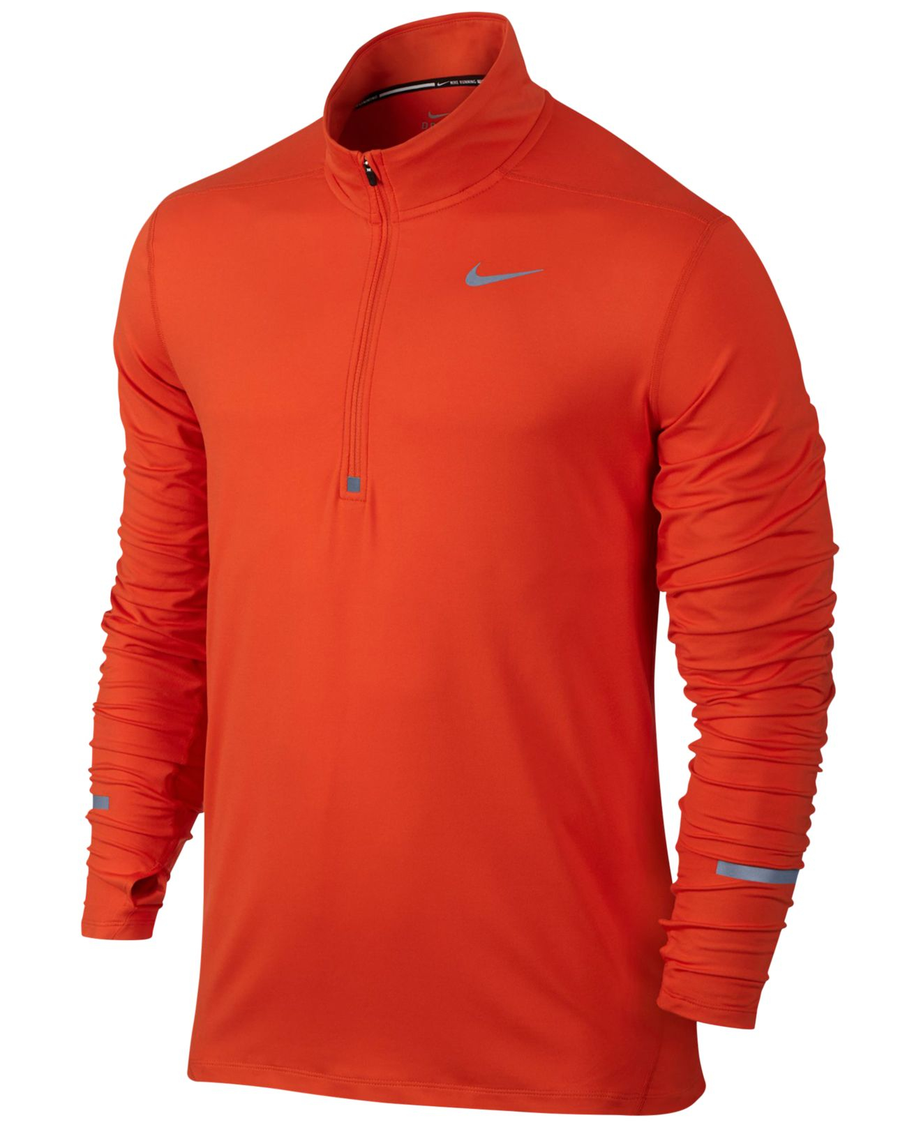 nike element dri fit half zip running shirt in orange for