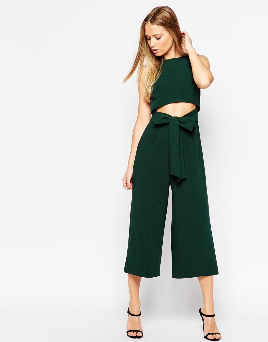 43ea9d9794dd Lyst - ASOS Culotte Jumpsuit With Cut Out Front in Green