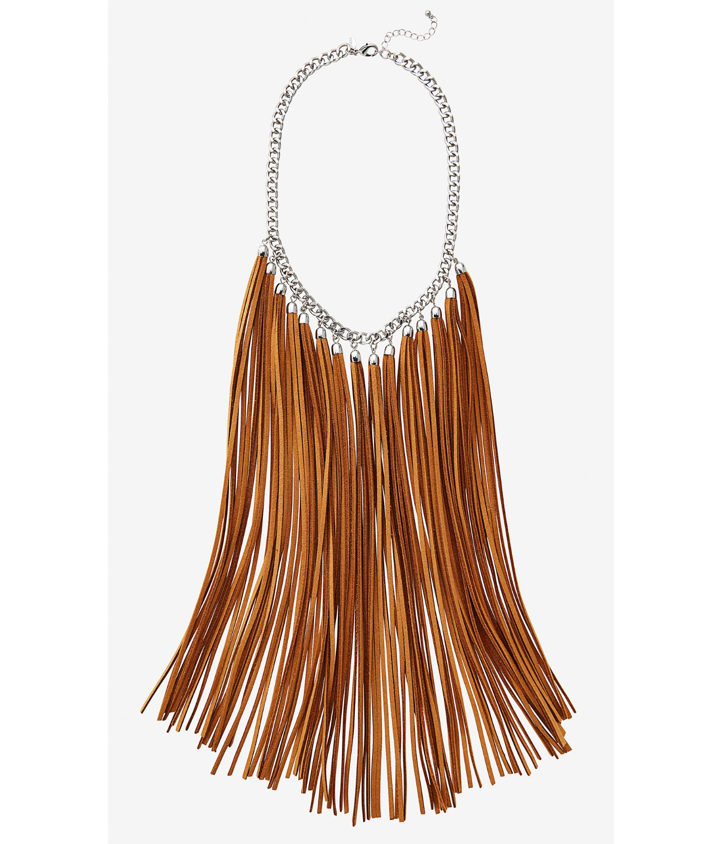Lyst Express Suede Fringe Necklace In Brown