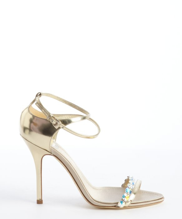 460b6df1d79 Dior Gold Leather Crystal Detail Strappy Sandals in Metallic - Lyst