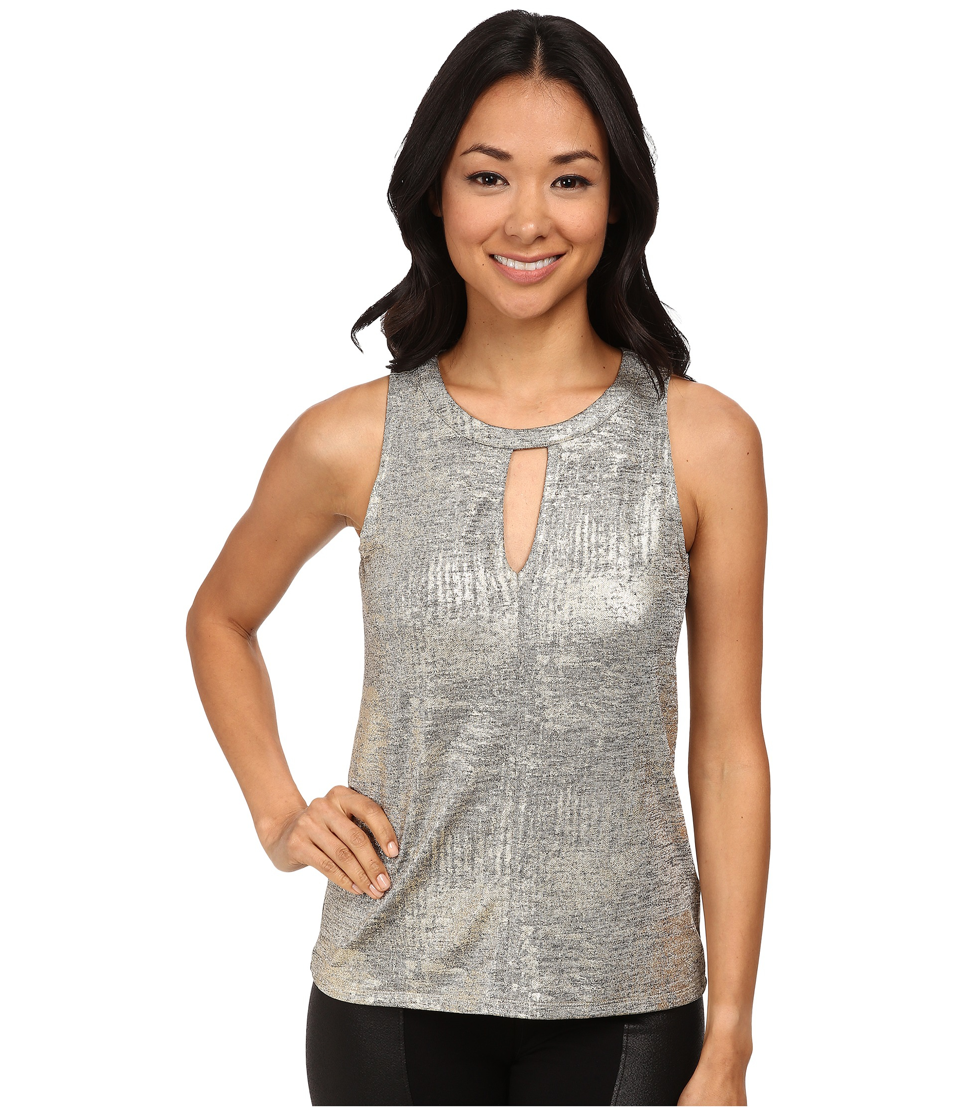 72d0e8d1a4218 Lyst - DKNY Shimmer Foiled Texture Jersey Keyhole Front Top in Metallic