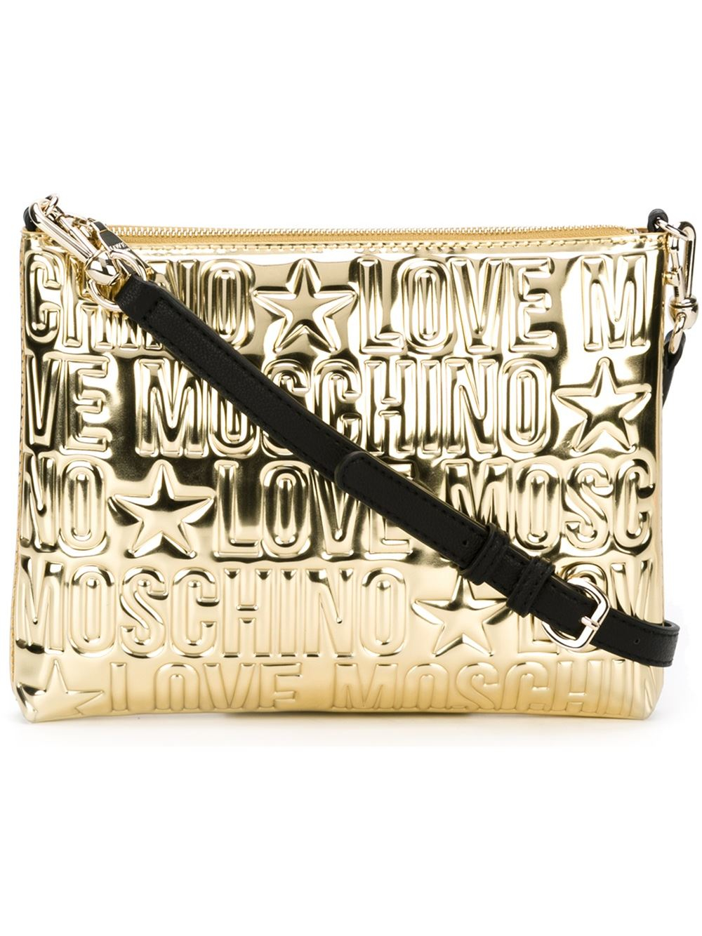 c5a273d22906 Lyst - Love Moschino Embossed Logo Clutch in Metallic