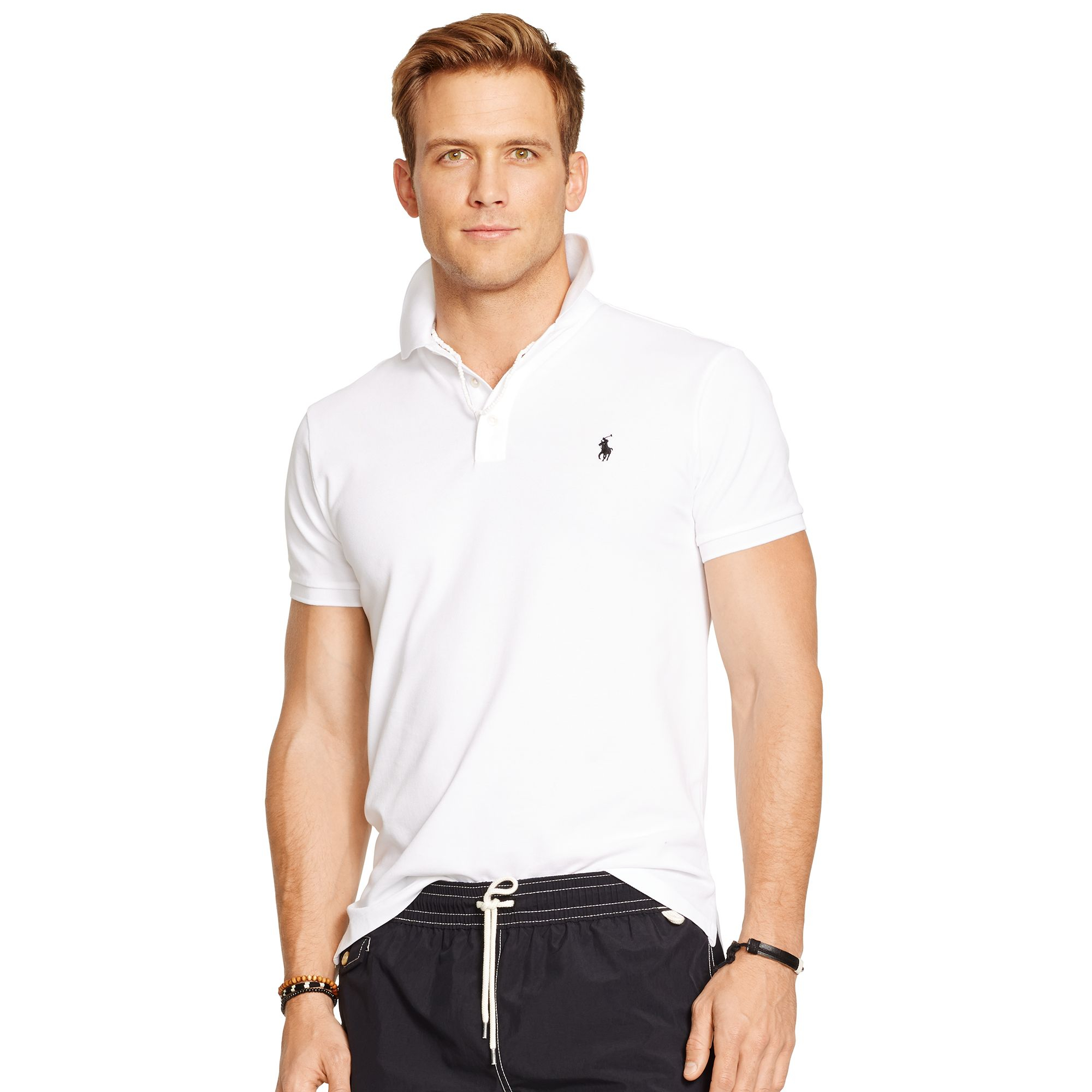52cfd22f ... coupon code for polo ralph lauren custom fit stretch mesh polo in white  for men lyst
