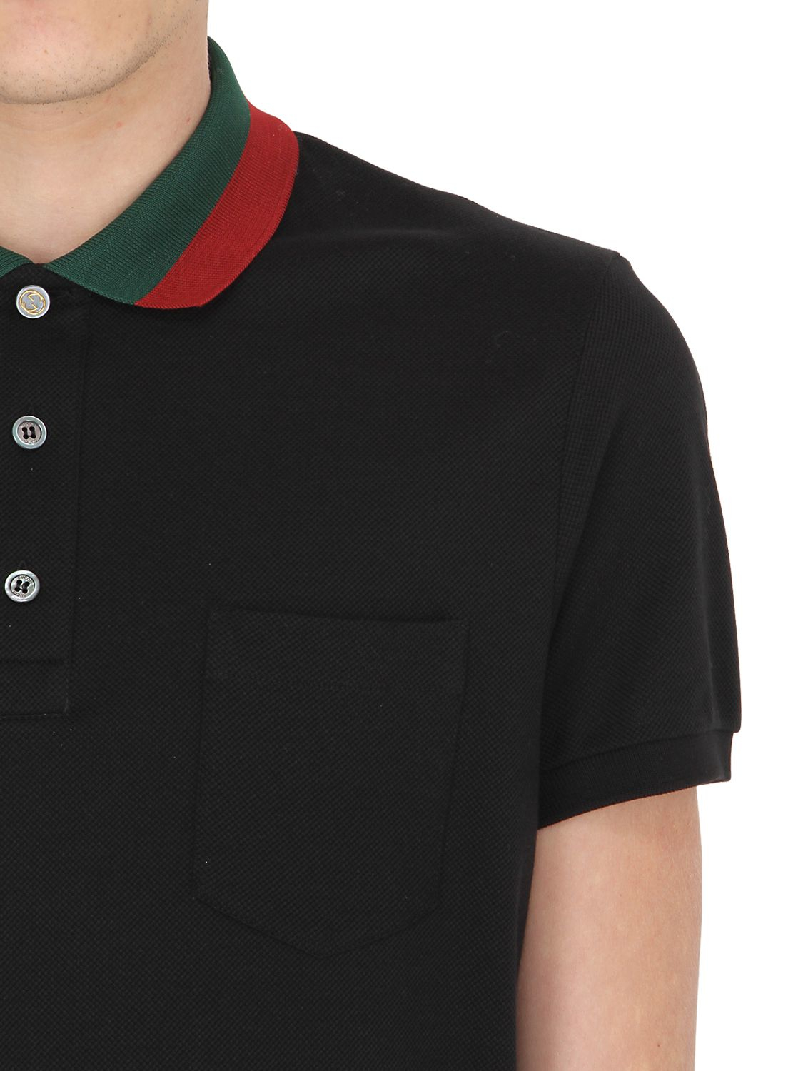 97d734526 Gucci Web Collar Stretch Cotton Piqué Polo in Black for Men - Lyst