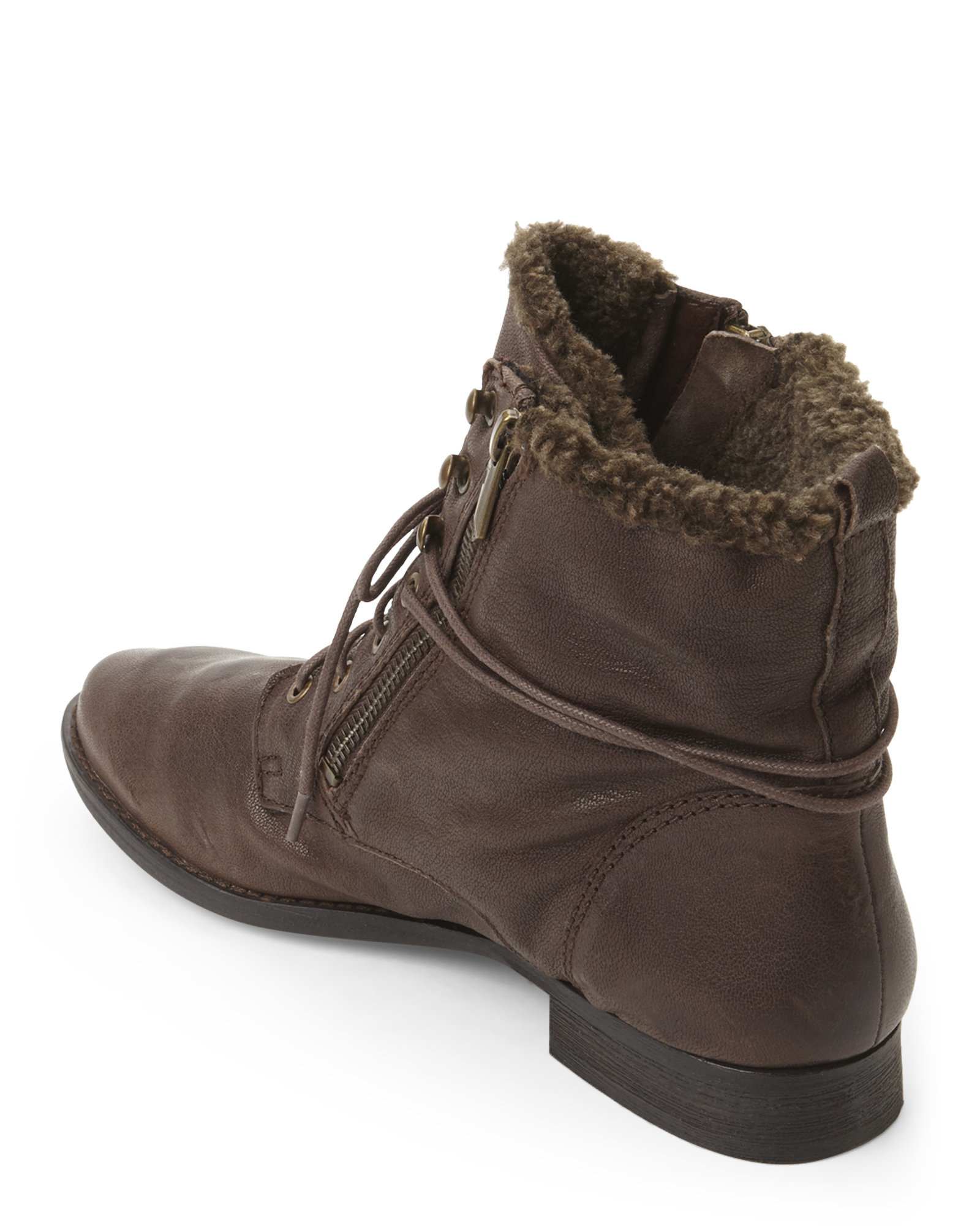 sam edelman brown mackay faux fur lined boots in