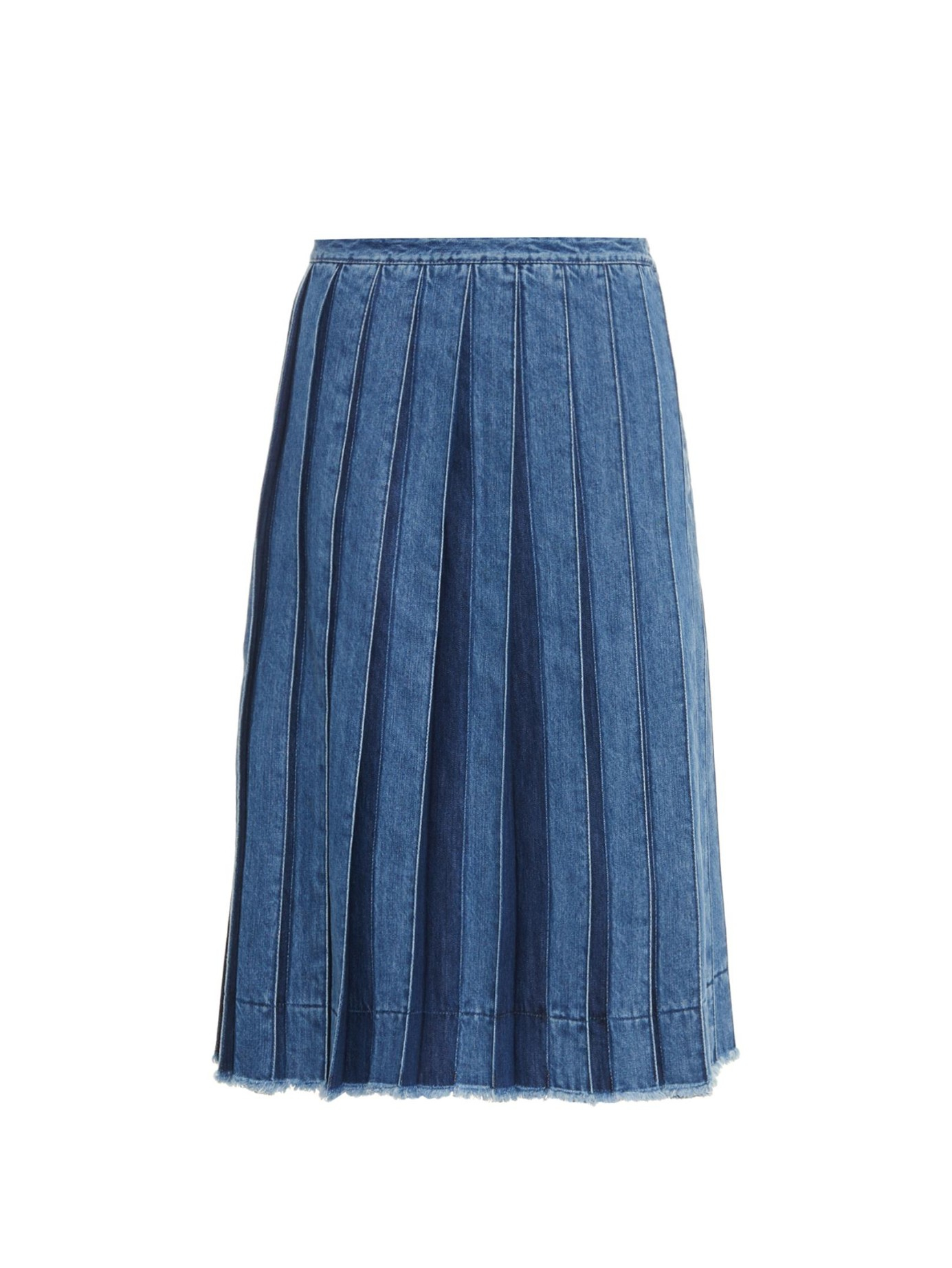 Joseph Pleated Denim Skirt in Blue | Lyst