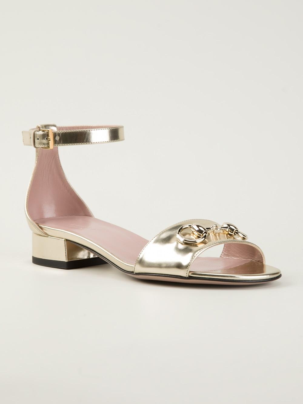 86bf78f91a0 Lyst - Gucci Horsebit Sandals in Metallic