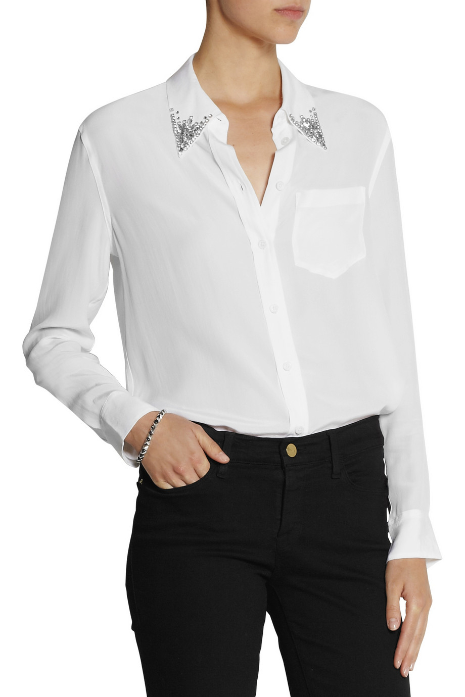 bfcf7ede7a6f68 Lyst - Equipment Reese Crystal-Embellished Washed-Silk Shirt in White