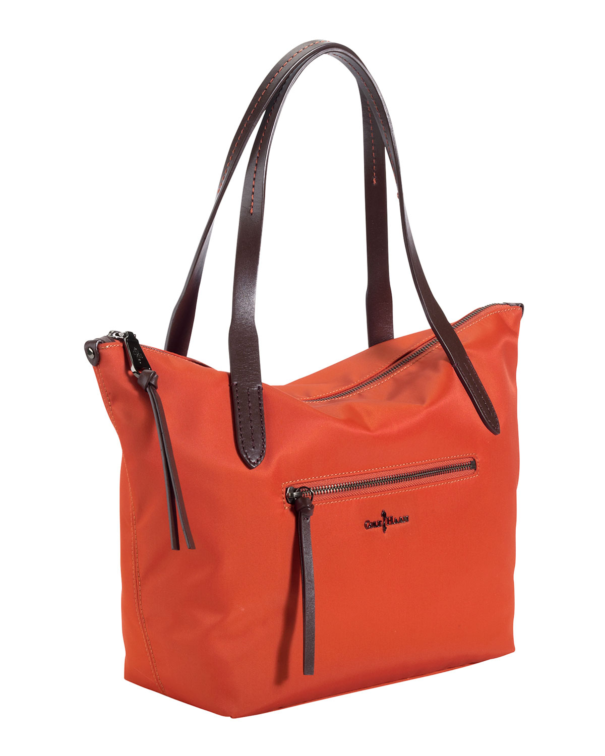 Cole haan Parker Small Nylon Ziptop Tote Bag Orange in Orange | Lyst