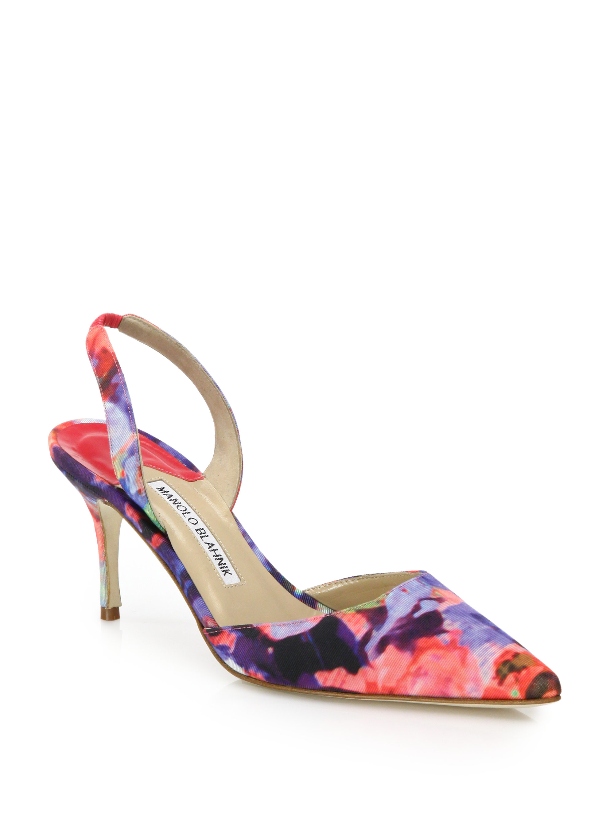 Lyst Manolo Blahnik Carolyne Floral Textile Mid Heel