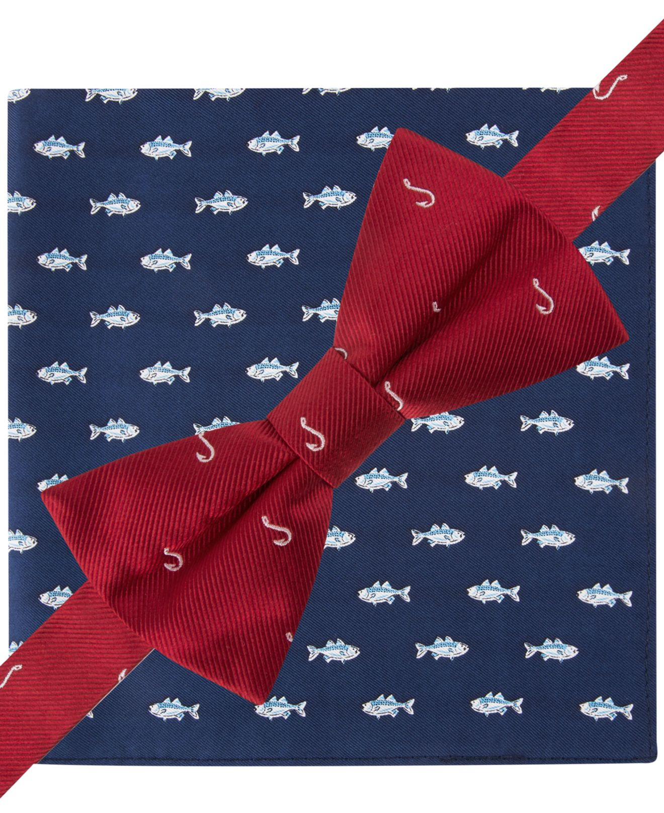 Tommy hilfiger hook bow tie fish pocket square set in for Fish bow tie