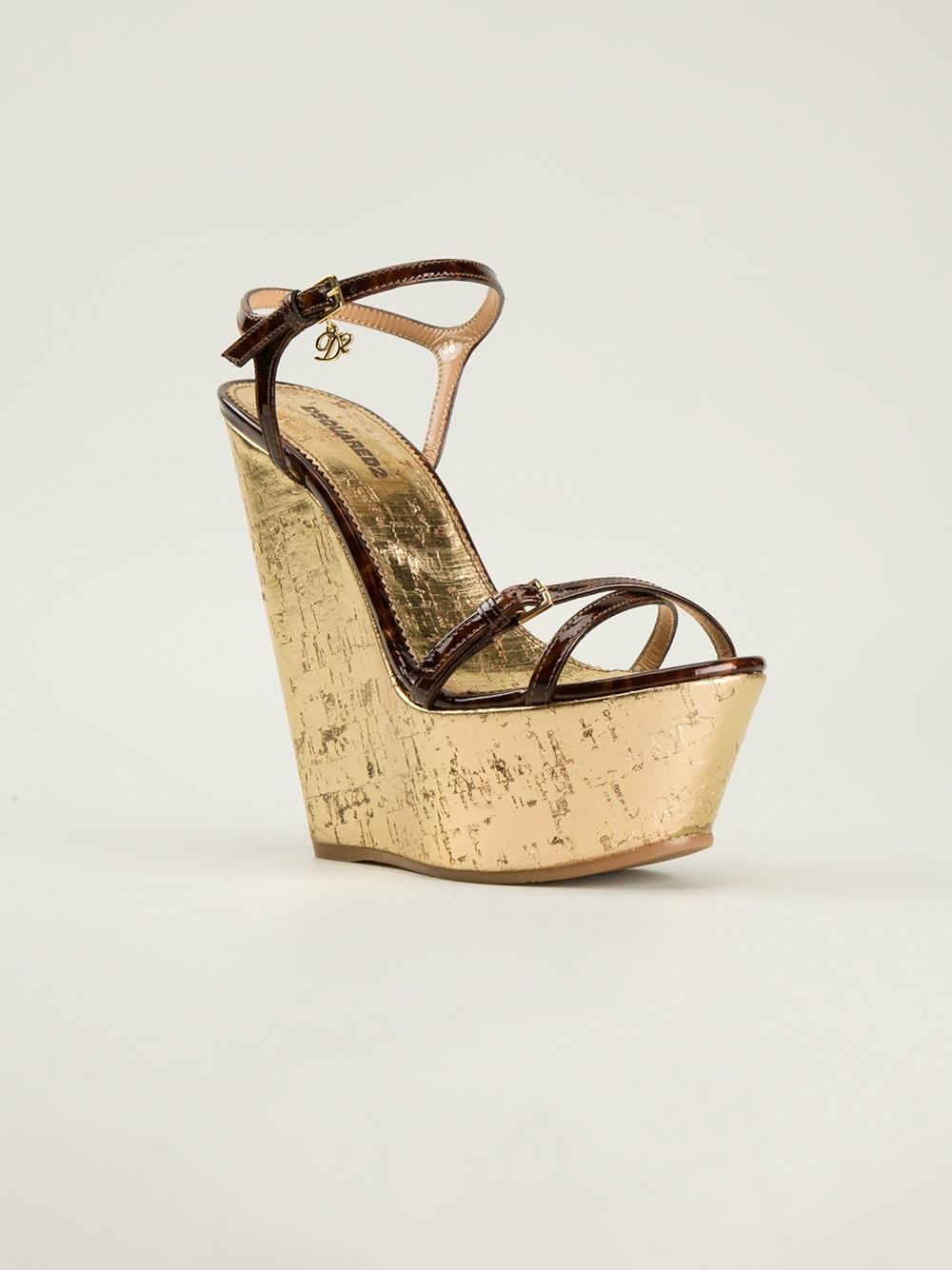 dsquared 178 platform sandals in brown lyst