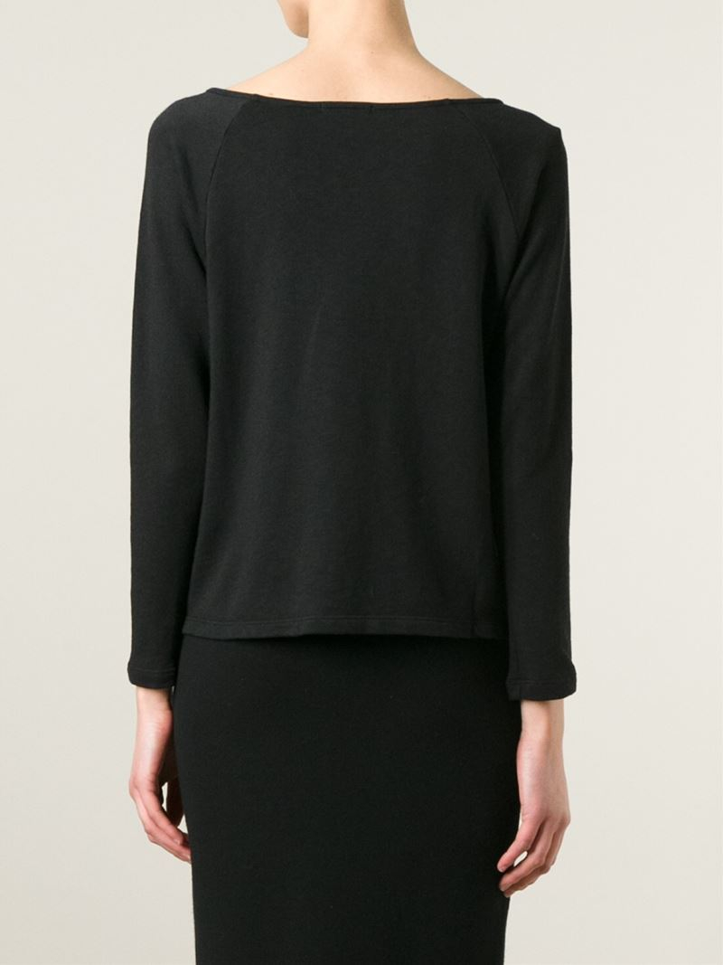 James perse button detail longsleeved t shirt in black lyst for James perse t shirts sale