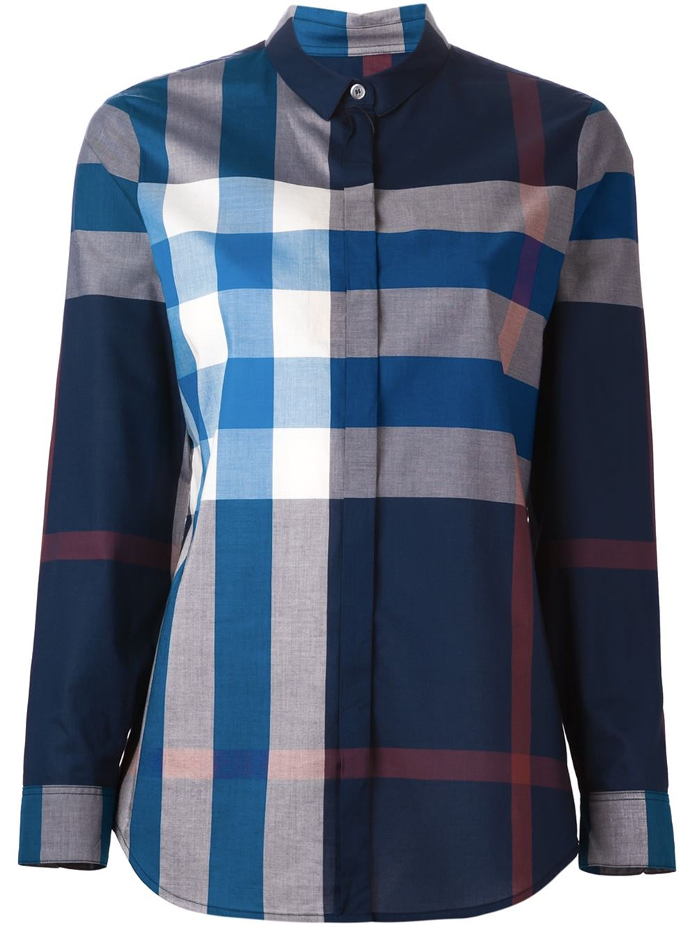 Burberry brit check cotton shirt in blue lyst for Burberry brit checked shirt