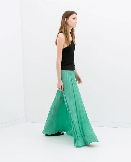 zara pleat skirt in green sea green lyst