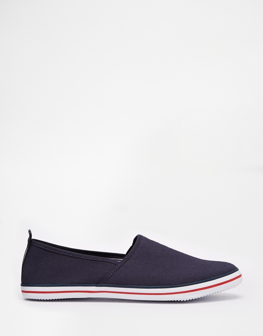 asos slip on sneakers in canvas in blue for lyst