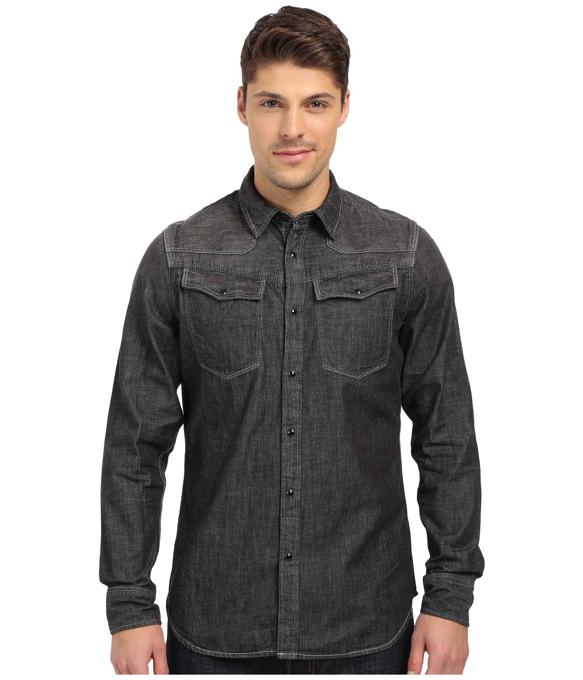 g star raw 3301 shirt in black for men lyst. Black Bedroom Furniture Sets. Home Design Ideas