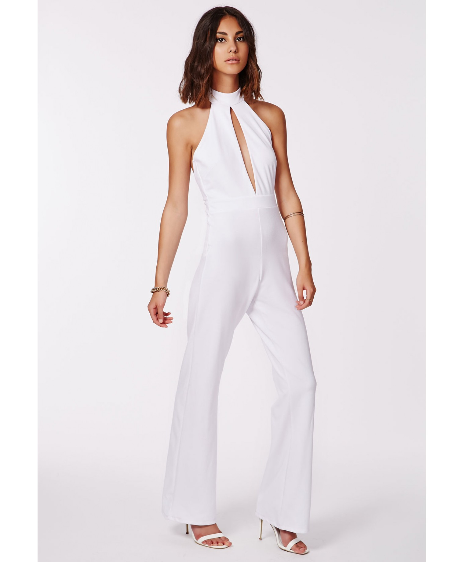 780897e4b60 Lyst - Missguided Milka White Halterneck Keyhole Jumpsuit in White