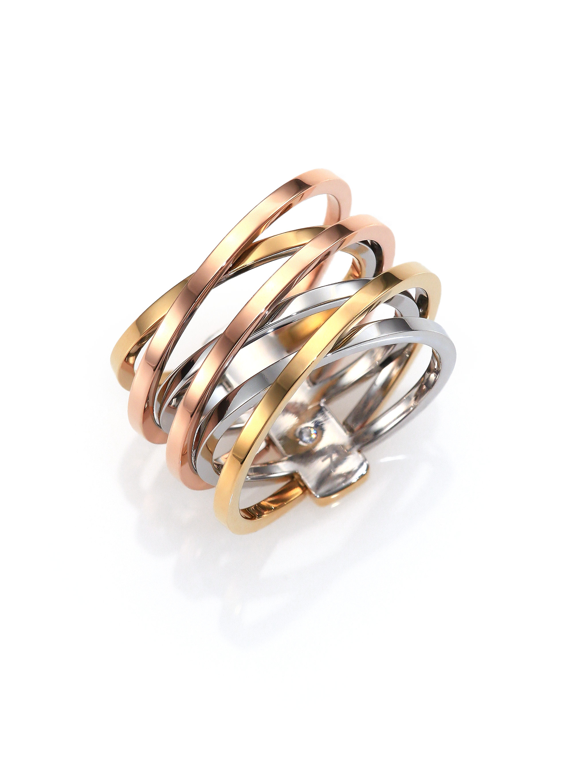 barrel ring gallery tone in metallic lyst normal tri product kors tritone rings michael jewelry