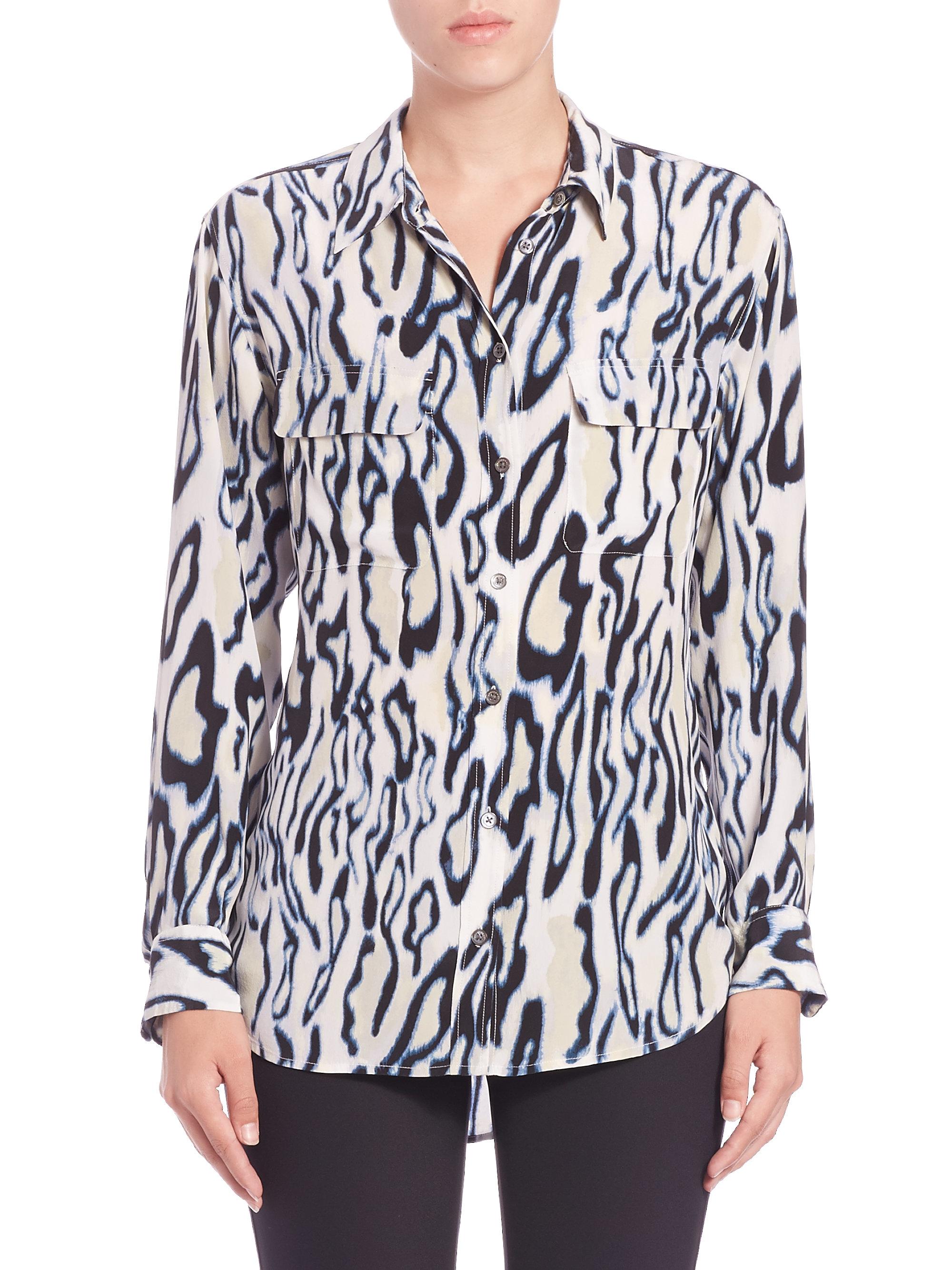 Lyst Equipment Silk Cheetah Print Shirt