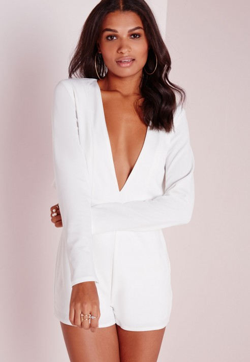 a09b5eca9fd8 Missguided Cape Long Sleeve Playsuit White in White - Lyst