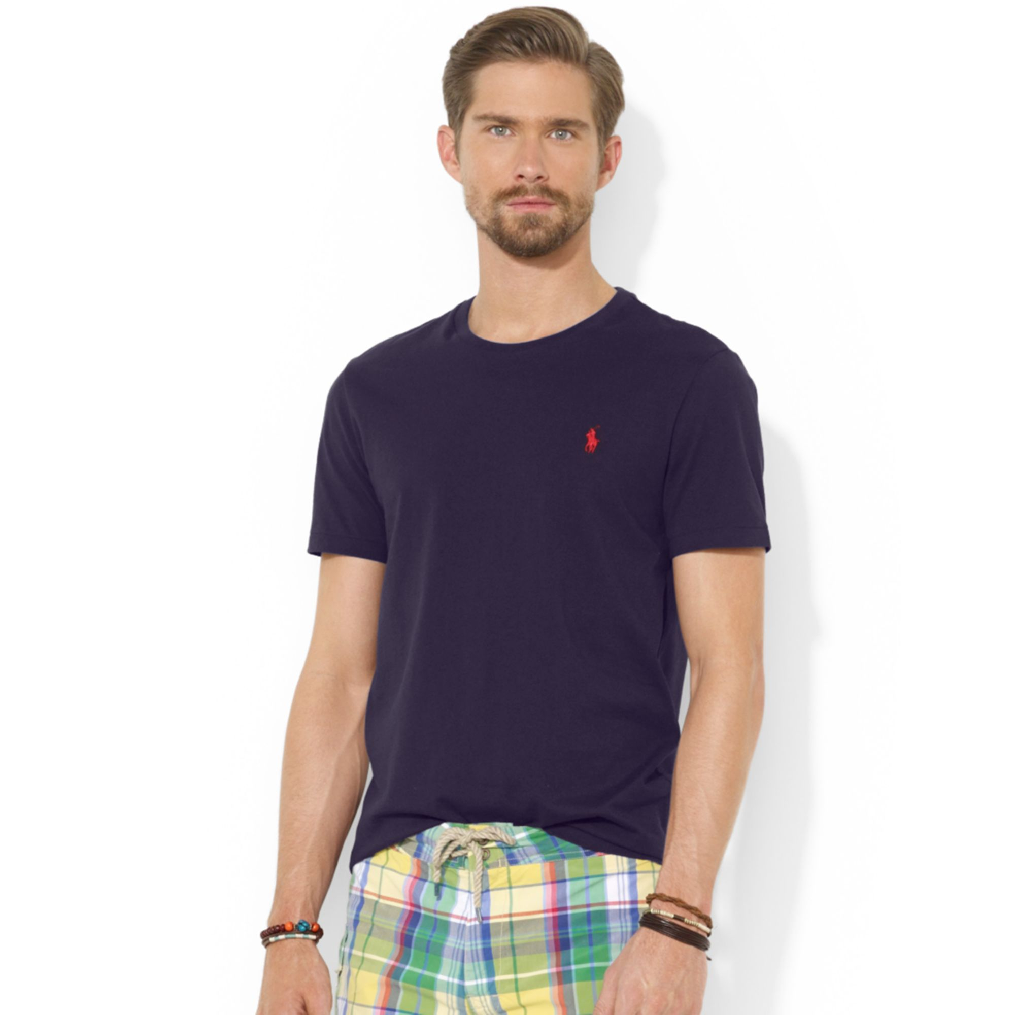 Ralph lauren polo custom fit cotton jersey t shirt in for Custom fit t shirts