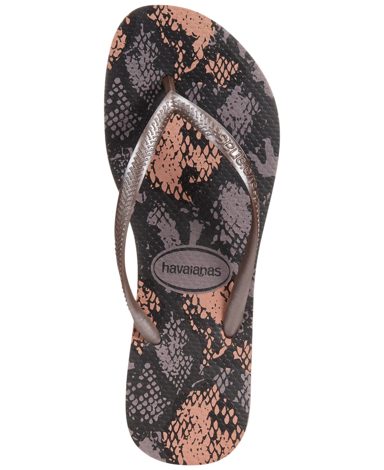 8c44bef5dd7d50 Lyst - Havaianas Women s Slim Animal Flip Flops in Gray