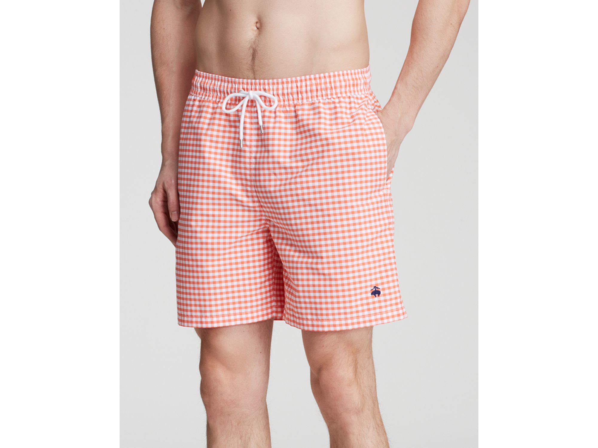 ea46f78c1d Brooks Brothers Gingham Swim Trunks in Pink for Men - Lyst